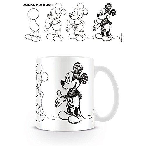 """Mickey Mouse """"Proceso de Sketch Taza de cerámica, Multicolor"""