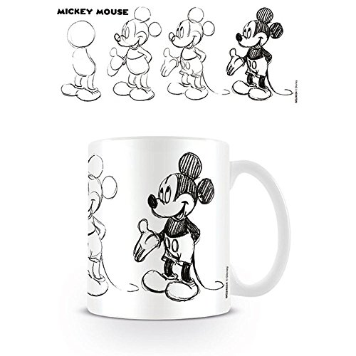 Walt Disney Kaffeebecher Mickey Mouse Sketch Process weiß