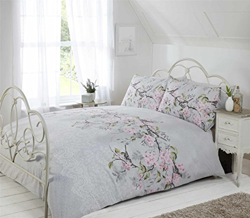 BIRD BRANCH FLORAL LACE PRINT GREY PINK USA QUEEN SIZE (230CM X 220CM - UK KING SIZE) DUVET COMFORTER COVER SET