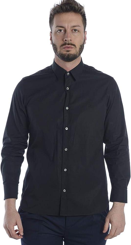 Burberry cambridge, camicia manica lunga da uomo, nero, 97% cotton,  3% elastane 3991162
