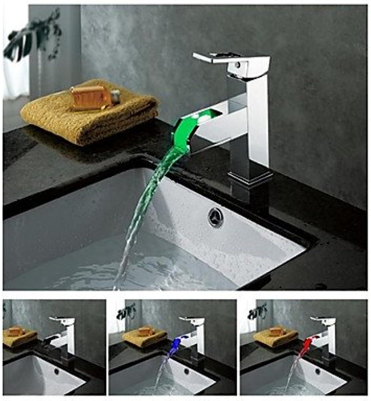 BiuTeFang Waschbecken Mischarmaturen LED Wasserfall Messing Chrom Badezimmer Wasserhahn