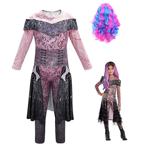 Disfraz de Descendants 3 para niña: Mal | Audrey | Disfraces UMA Deluxe Dress Up Onesies Kids Evie Halloween Cosplay Outfits