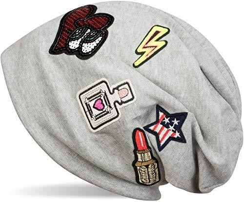 styleBREAKER muts met coole vlekken, lippenstift, USA ster, flash, sequined hart, slouch longbeanie, unisex 04024101