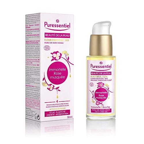 Puressentiel - Beauté de la peau - Huile de Soin Visage Elixir Essentiel - Bio - Immortelle et Rose Musquée - Actions jeunesse - Eclat, fermeté, élasticité, hydratation -30 ml
