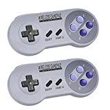 Zeato 2.4GHz Wireless Controller for SNES/NES Mini, Rechargeable SNES Classic Edition Wireless Gamepad with Retro/USB Receiver for Super NES Classic Edition (2Pack)