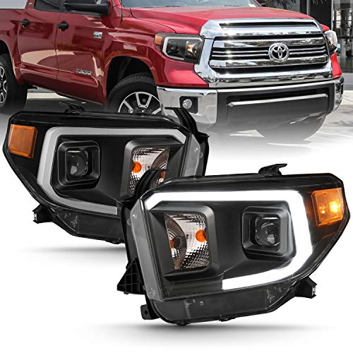 AmeriLite Black Intense LED DRL Bar Projector Replacement Headlights Set for 14-19 Toyota Tundra SR SR5 Limited TRD