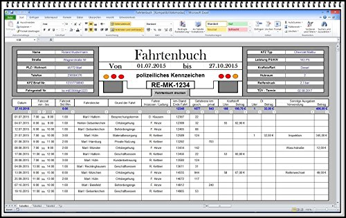 Digitales elektronisches Computer Fahrtenbuch für Finanzamt Steuererklärung Ordnungsamt MPU Betriebsfahrten Geschäftsfahrten Dienstreise Dienstwagen Gewerbe Unternehmer Arbeitnehmer Handwerker KFZ PKW