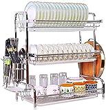 MCE Scarpe da cucina Drenaggio rack rack per rack in acciaio inox grande scozzetto da cucina scozzese con tappa dei posate Asciugatura
