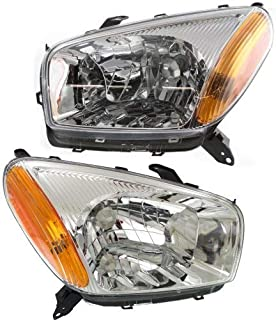Headlight Assembly Compatible with 2001-2003 Toyota RAV4 Halogen Chrome Interior Passenger and Driver Side