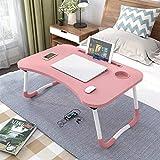 GROSSē Mesa de cama para ordenador portátil, mesa de pie, para cama y sofá, desayuno, bandeja de café, plegable, soporte de lectura, para sofá, suelo infantil, 60 x 40 cm, color rosa