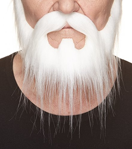 Mustaches Self Adhesive, Novelty, Nomad Fake Beard and Fake Mustache, False Facial Hair, Costume Accessory for Adults, White Color