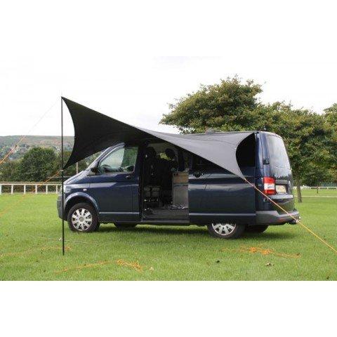 Kiravans, Sonnendach/Vorzelt für europäische Linkslenker-Transporter mit Dachschiene, aus Segeltuch, Schutz vor Sonne und Regen, spendet Schatten