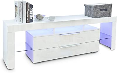 TV Stand Entertainment Unit 2 Drawers Storage Cabinet Wood Furniture White 160CM