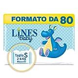 Lines Baby Small, Confezione Standard da 80 Pannolini, Taglia 1-2 (2-6 Kg)...