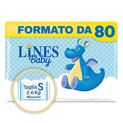 Lines Baby Small, Confezione Standard da 80 Pannolini, Taglia 1-2 (2-6 Kg)