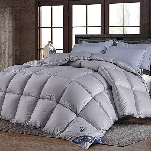 WENZHEN Daunendecke,Bettdecke 10.5 Tog-Hypoallergenic-Box Stitched Duvet (Double,Weiß)-220x240-4kg_Gray