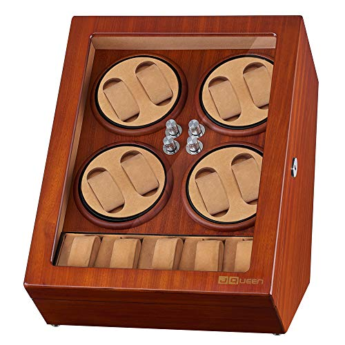 JQUEEN Watch Winder for 8 Automatic Watches with 5 Display Storage Spaces for All Size Watches (Brown(EW))