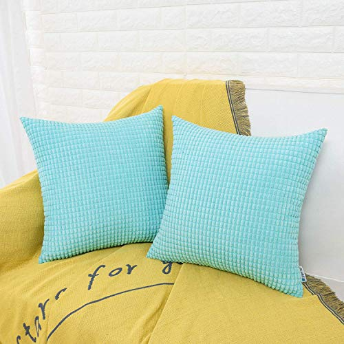 HWY 50 Decorative Throw Pillows Covers, Corduroy Soft Comfy Solid Pale Blue Pillow Covers Cushion Cases Set for Couch Sofa Bedroom Bed 18 x 18 inch Pack of 2, Corn Striped Decoration