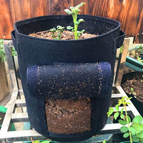 Kartoffel Pflanzsack, Pflanztasche mit Klettverschluss Tragegriffen Wachstumstasche Fenster Gemüsebeutel doppelschichtig, Pflanzbeutel atmungsaktiv Vliesstoff 25 x 30 cm (Schwarz)