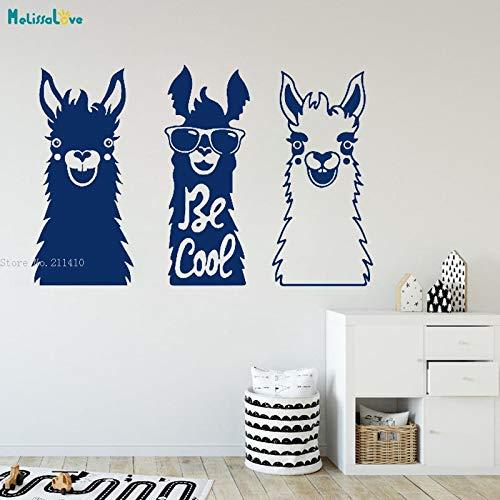 Moderne lustige Alpaka tragen Sonnenbrille Sammlung Kamel Wandtattoo Kinderzimmer Dekoration Kinder Baby Zimmer Spielzimmer Vinyl Wildlife kreative Kunst 87x56cm
