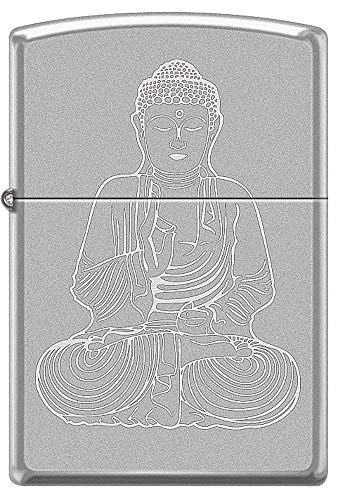 Buddah Satin Chrome Zippo Lighter with Roto Engraved Buddha Image