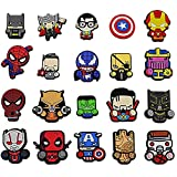 Superhero Charms, Decorations for Clog Charms and Wristband, Handmade Shoe Accessories, Cute Shoe Charm for Kids, Women, Men, 20PCS