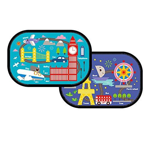 ZYTC 2 parasoles para Ventana de Coche de bebé, con patrón de Cebra de Dibujos Animados para Bloquear los Rayos UV dañinos y el Calor para niños y Mascotas