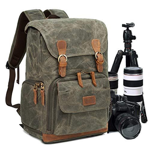 UBAYMAX Kamerarucksack Kameratasche, Wasserdicht Canvas Leinenstoff und Echt-Leder DSLR Rucksack, 15,6 Zoll Laptop Rucksack, Fotorucksack für Kamera Zubehör und Outdoor Sport Reise (Armeegrün)
