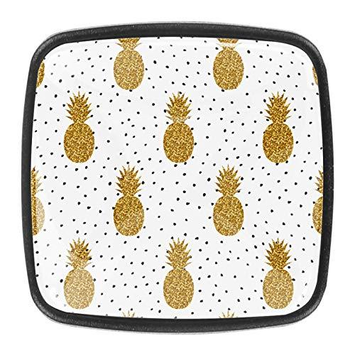 Puntos de Frutas de Oro en Blanco y Negro Pomo,4 Piezas Tiradores de Muebles Perillas de Natural Perillas del Gabinete con Tornillo para Puertas Armarios de Cocina Tirador Cajones