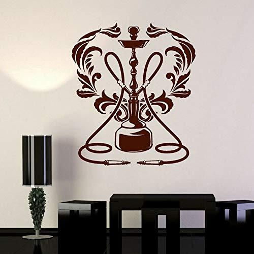 YuanMinglu Vinyl Wall Applique Shisha Lounge Club Fenster Rauchen Fenster Logo wandbild künstler Wohnzimmer Dekoration 86x75 cm