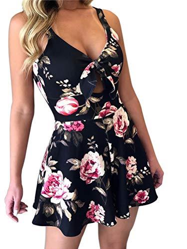 Minetom Jumpsuit Damen Elegant Kurz Playsuit Sommer Vintage Blumen Ärmellos Overall V-Ausschnitt Romper Sexy Shorts Kurze Hose Hosenrock Rose DE 36