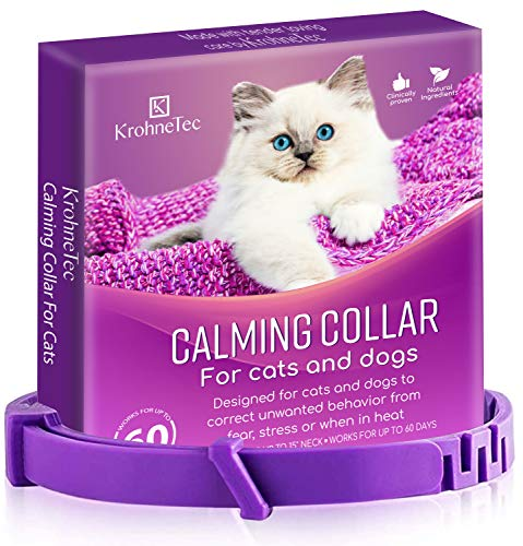 KrohneTec Calming Collar for Cats, Anxiety Relief Cat Collars, Pheromone and Lavender Calming Collar for Dogs, Lasts up to 60 Days