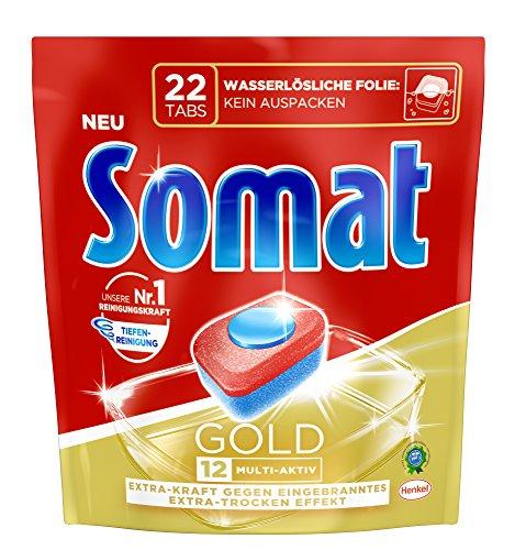 Somat 12 Gold Multi Aktiv, Spülmaschinentabs, 22 Tabs, Extra-Kraft gegen Eingebranntes und Glanz-Effekt
