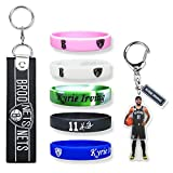 KI-Irving Silicone-Bracelet Kyrie-Keychain Brooklyn-Basketball-Pendant, #11 Uncle-Drew Signature Rubber Wristbands for Men, Basketball Accessories Sports Wristbands Kyrie Fans Gifts for Boys (7-Pack)