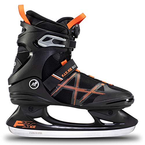 K2 Skates Herren Schlittschuhe F.I.T. Ice Boa — Black - orange — EU: 42 (UK: 8 / US: 9) — 25E0401