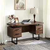 SSLine Home Office Computer Desk with Drawers,Writing Desk with Hanging Letter-Size Files, Study Table Office Desk Workstation Home Office Desk 59 Inches for Study Room, Bedroom (Type-2)