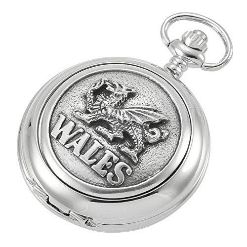 Plata Cadena de Esqueleto Reloj de Bolsillo de dragón galés por Woodford