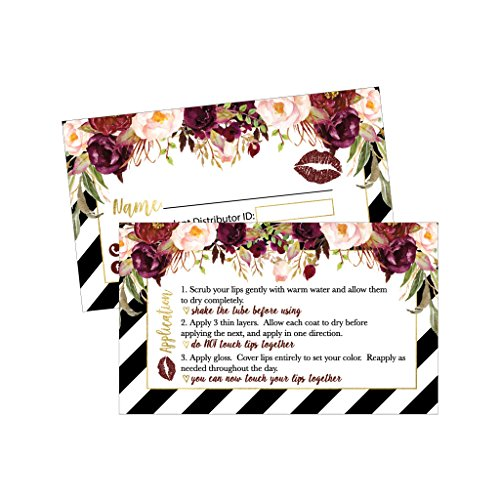 25 Lipstick Business Marketing Cards, How To Apply Application Instruction Tips Lip Distributor Advertising Supplies Tool Kit Items, Makeup Party For Seller With Common Sense