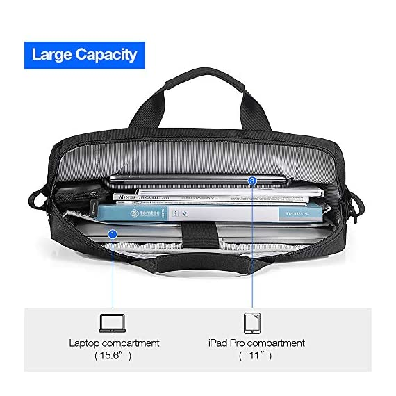 "Tomtoc 15. 6 inch laptop shoulder bag for 16-inch new macbook pro a2141, anti-shock laptop messenger bag briefcase fits… 5 compatibility - the shoulder bag is compatible with 15. 6"" laptop, 16-inch new macbook pro 2019, 15-inch macbook pro, 15 inch surface book 2, dell xps 15,10. 5"" ipad pro with apple pencil, etc. External dimension: 16. 30"" x 12. 60"". Large capacity – main compartment and 3 external pocket to house your laptop, ipad pro and all accessories needed. Ultra-protective – extra protective padding on the bottom of laptop pocket. Durable lining interior for better protection."