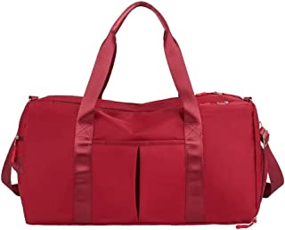 Travel Duffel Bags 36-55L Waterproof Lightweight Luggage Yoga Gym Sport Duffel Bags with Shoes Compartment &Dry Wet Pocket for Men and Women(Red)