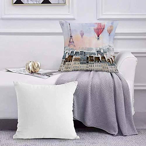 Ccstyle Funda de Cojín Funda de Almohada del Hogar Globo de Aire Caliente Multicolor sobre Torre de techos,Square Soft and Cozy Pillow Covers,