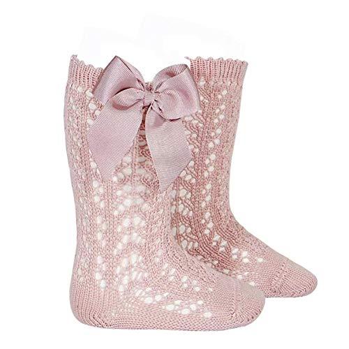 MAHUAOYIXI Lange Socken mit Schleife für Neugeborene, elegante Socken für Prinzessin & Mädchen., Rosa, 0- 12 Monate