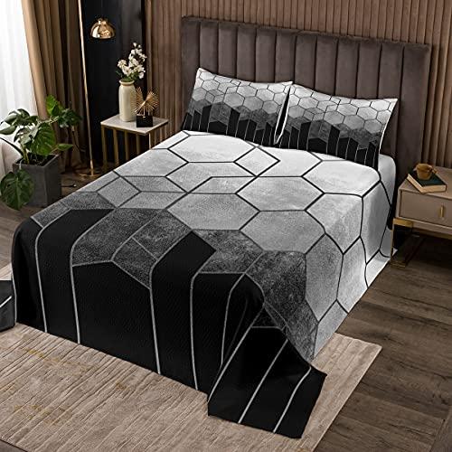 Geometrisch Bienenwabe Bettüberwurf Grauschwarz Teenager Jugendliche Marmor Gitter Diamant Hexagon Tagesdecke 220x240cm Moderner Marmor Streifen Textured Steppdecke