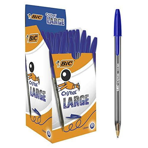 BIC Cristal Large Bolígrafos Punta Ancha (1,6 mm) - Azul, Caja de 50 Unidades, para escritura suave, ideal para oficinas