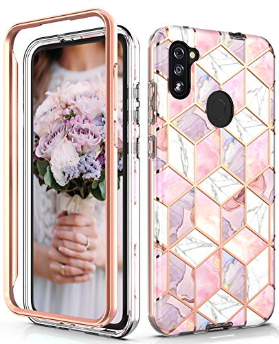Hasaky Samsung Galaxy A11 Case,Dual Layer Hybrid Bumper Clear Cute Rose Gold Marble Design Soft TPU+Hard Back Heavy Duty Anti-Scratch Shockproof Protective Phone Case for Galaxy A11-Pink/Rose Gold.