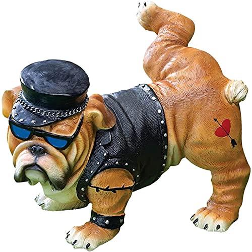 JIJK Divertida estatua de perro, resistente, bulldog orinando, decoración de jardín de hadas, decoración de jardín al aire libre, artesanía de resina para patio, césped, decoración interior del hogar