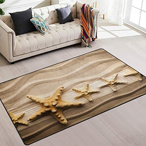 Naanle Ocean Beach Theme Non Slip Area Rug for Living Dinning Room Bedroom Kitchen, 2' x 3'(24 x 36 Inches), Starfish on Sandy Beach Nursery Rug Floor Carpet Yoga Mat