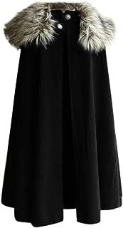 Houshelp Men's Winter Warm Gothic Wool Faux Fur Collar Long Cape Cloak Halloween Costume Cosplay Cardigan Coat Drape