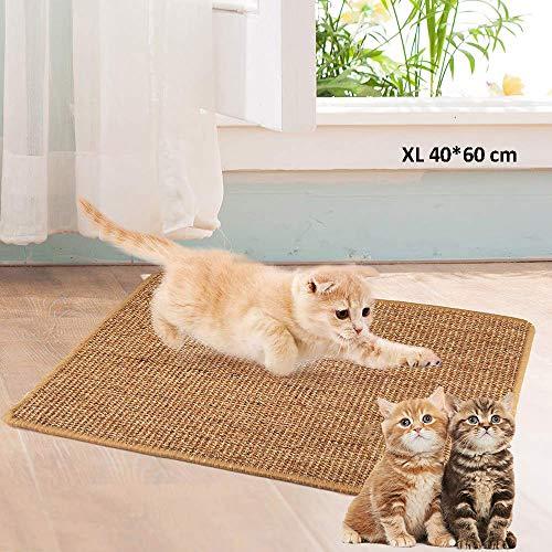 ALLOMN Katzenkratzmatte, Natur Sisal Kratzkatzenkissen Katzenkratzkrallen Rutschfestes Katzenkrallen-Pflegespielzeug S/M/L/XL (XL : 40×60cm)