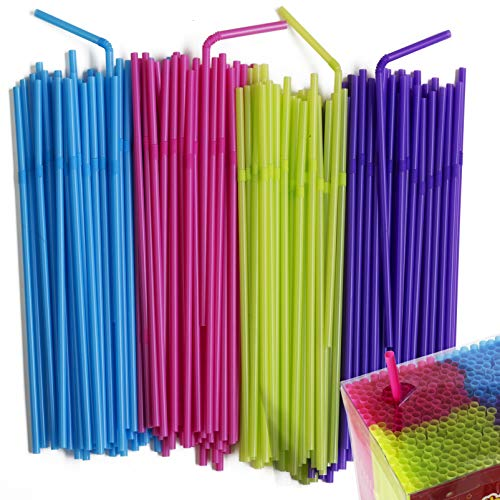 Flexible Neon Colored Bendy Plastic Straws